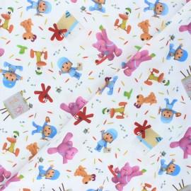 Cretonne cotton fabric - white Pocoyo et ses amis x 10 cm
