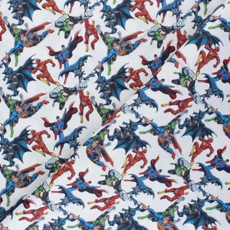 Cretonne cotton fabric - white Comics Heroes x 10 cm
