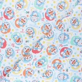 Cretonne cotton fabric - white Doraemon x 10 cm