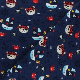 Printed Jersey fabric - navy blue Oursons à l'abordage x 10cm