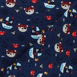 Tissu jersey Oursons à l'abordage - bleu marine x 10cm
