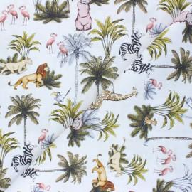Tissu coton cretonne L'histoire de la vie - blanc x 10cm