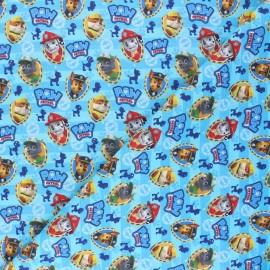 Tissu coton cretonne Pat' Patrouilleurs - bleu x 10cm