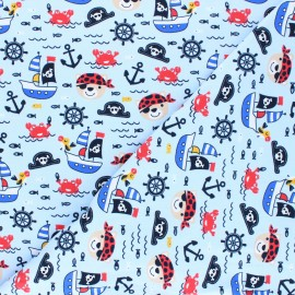 Printed Jersey fabric - sky blue Oursons à l'abordage x 10cm