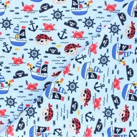 Tissu jersey Oursons à l'abordage - bleu ciel x 10cm