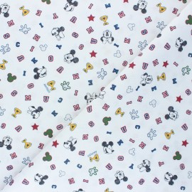 Cretonne cotton fabric - white High-school Mickey x 10 cm