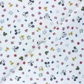 Tissu coton cretonne High-school Mickey - blanc x 10cm