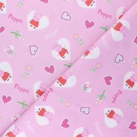 Tissu coton cretonne Peppa love - rose x 10cm