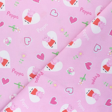 Cretonne cotton fabric - pink Peppa love x 10 cm
