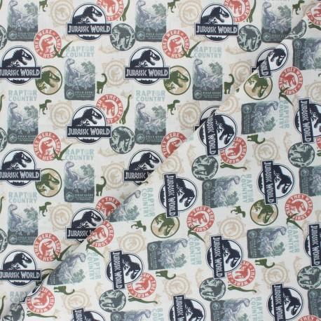 Cretonne cotton fabric - natural Raptor country x 10 cm