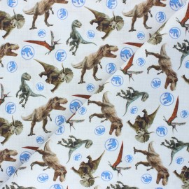 Cretonne cotton fabric - white Jurassic World x 10 cm