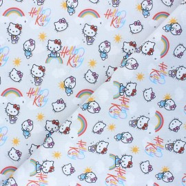 Cretonne cotton fabric - grey Rainbow kitty  x 10 cm