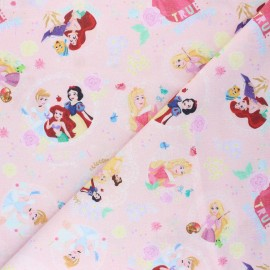 Cretonne cotton fabric - pink Princesses beauty x 10 cm