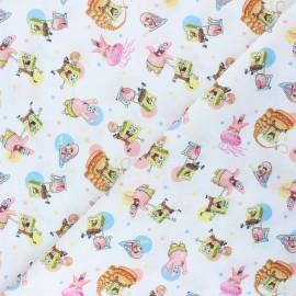 Tissu coton cretonne Bob et ses amis - blanc x 10cm