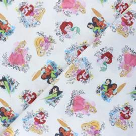 Cretonne cotton fabric - white Les histoires merveilleuses x 10 cm