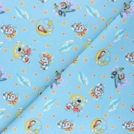 Tissu coton cretonne Nobita Nobi - bleu x 10cm