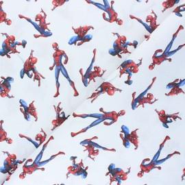 Tissu coton cretonne Spider-man - blanc x 10cm