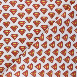 Tissu coton cretonne Superman - blanc x 10cm