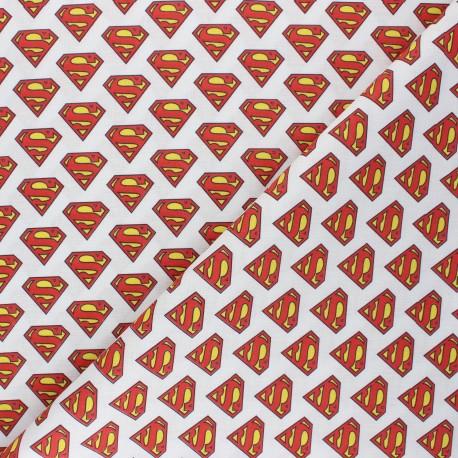 Cretonne cotton fabric - white Superman x 10 cm