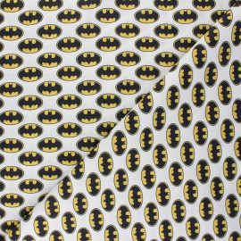 Cretonne cotton fabric - white Batman sign x 10 cm
