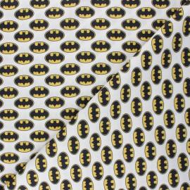 Cretonne cotton fabric - white Batman sign x 10 cm