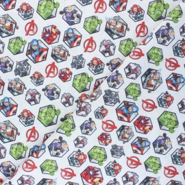 Cretonne cotton fabric - white Avengers x 10 cm