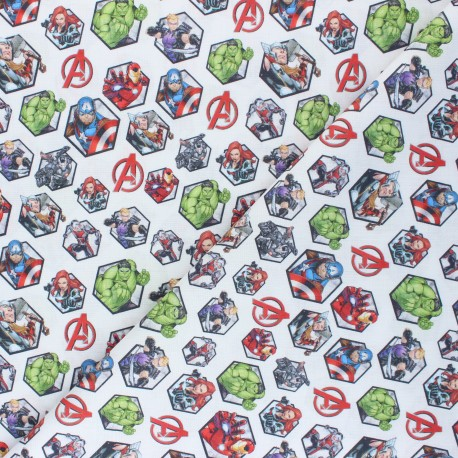 Cretonne cotton fabric - white Avengers x 10 cm