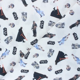 Cretonne cotton fabric - white Rainbow Star Wars x 10 cm
