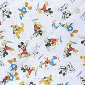 Tissu coton cretonne Mickey & co - blanc x 10cm