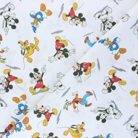 Cretonne cotton fabric - white Mickey & co x 10 cm