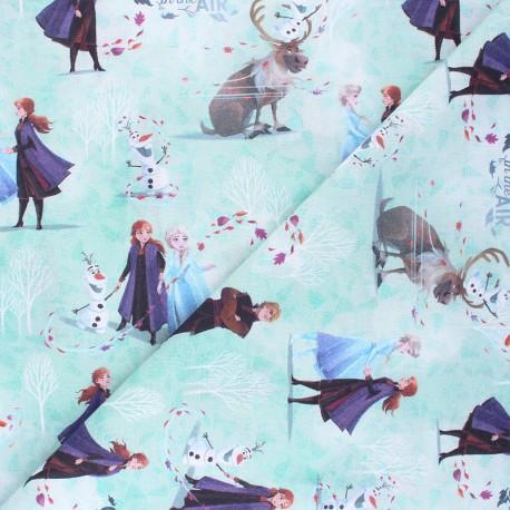 Cretonne cotton fabric - aqua green Frozen world x 10 cm