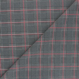 Tissu polyester élasthanne Prince - gris/rouge x 10cm