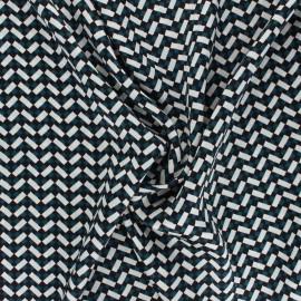 Print polyester satin fabric - green/ivory Murphy x 10cm