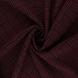 Elastane polyester fabric - black/red Love Rice x 10cm