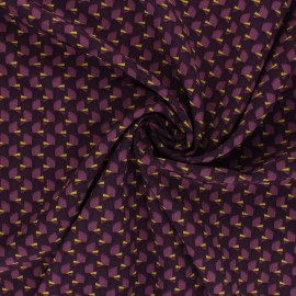 Polyester mat satin fabric Pearl Peach by Penelope® - purple Tiny Vibe x 10cm