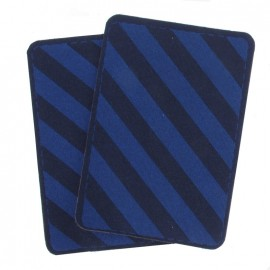 Fleece Elbow and knee patch with electric blue stripes - navy blue