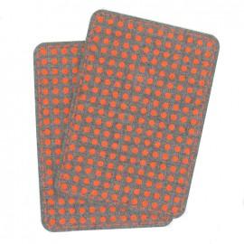 Coudières Genouillères gris chiné pois orange fluo toile