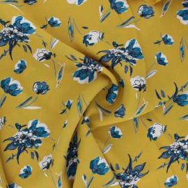 Print polyester satin fabric - yellow Dryed flower  x 10cm