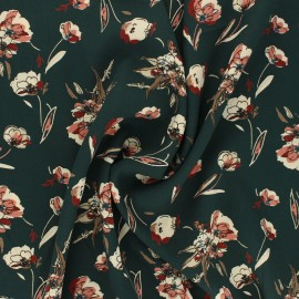 Print polyester satin fabric - green Dryed flower  x 10cm