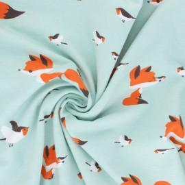 Printed Jersey fabric - aqua green Best Friends x 10cm