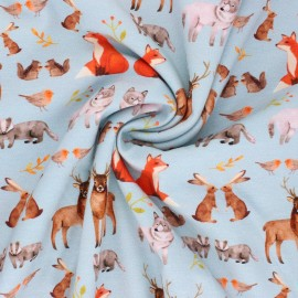 Printed Jersey fabric - blue La Petite Forêt x 10cm