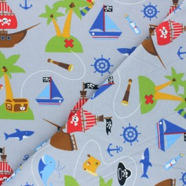Printed Jersey fabric - grey Le monde des pirates x 10cm