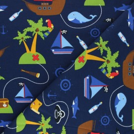Printed Jersey fabric - blue Le monde des pirates x 10cm