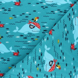 Plain french terry fabric - lagoon blue Roger le pirate x 10cm