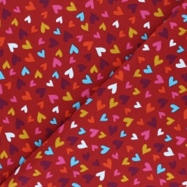 Tissu jersey Pluie de coeurs - tomette x 10cm