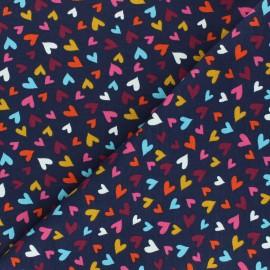 Tissu jersey Pluie de coeurs - bleu marine x 10cm