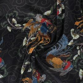 Satin elastane polycotton fabric - black Bao x 10cm
