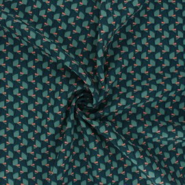Polyester mat satin fabric Pearl Peach by Penelope® - green Tiny Vibe x 10cm