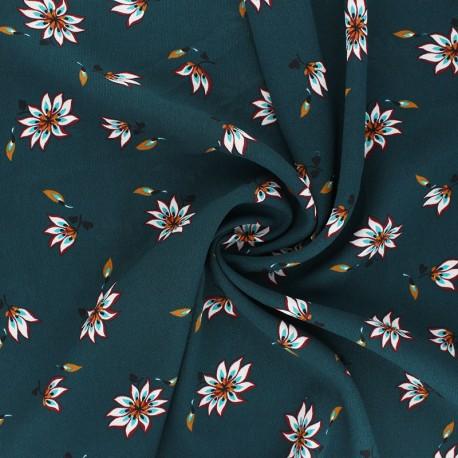 Tissu crêpe léger Fiora - bleu paon x 10cm