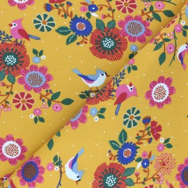 Plain french terry fabric - mustard yellow Roger le pirate x 10cm